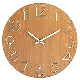 BOROK Wall Clock Silent Horloge Murale Silencieuse Pendule Murale Désign Horloge Murale Vintage en Bois pour Maison, Bureau