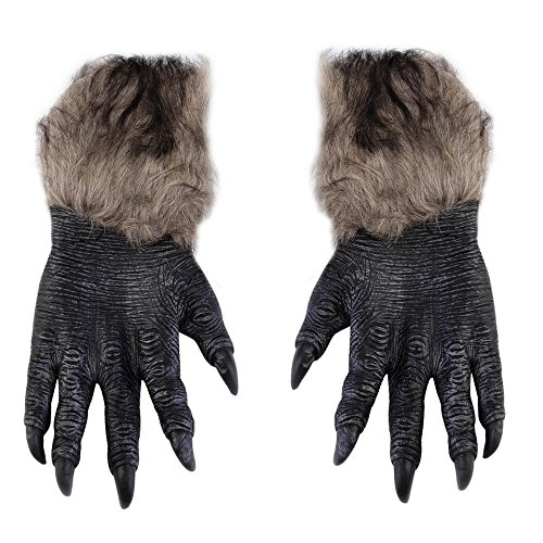 Guantes de Halloween para hombres lobo Guantes de látex para animales peludos Garras de lobo Disfraz de Halloween Horror Devil Party Club Suministros Guantes espeluznantes - Multicolor (Halloween De Disfraz Hombre Para)