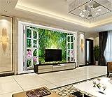 Weaeo 3D Wallpaper Benutzerdefinierte Photomural Non-Woven Bamboo Blume Fenster Dekoration Malerei 3D Wandbild Tapeten Für Wände 3 D-200X140-Cm