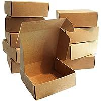 Kurtzy Pack 10 Cajas de regalo Cartón Marrón de 13 x 12 x 5 cm - Cajas de Presentación en Empaque Plano Aptas para Fiestas, Bodas, Guardar Pasteles, Galletas y Joyas