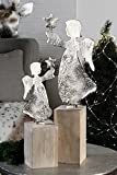Casablanca - Figur - Engel Raw - Aluminium vernickelt - Mangoholz - 40 x 13 cm