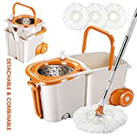 Mop and Bucket Set with 3PCS Replacement Mop Heads Magic 360° Spin Mop on Wheels with Stainless Steel Pole Space Saving Bucket for Hardwood Floor Cleaning Masthome