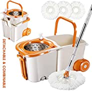 Mop and Bucket Set with 3PCS Replacement Mop Heads Magic 360° Spin Mop on Wheels with Stainless Steel Pole Spa