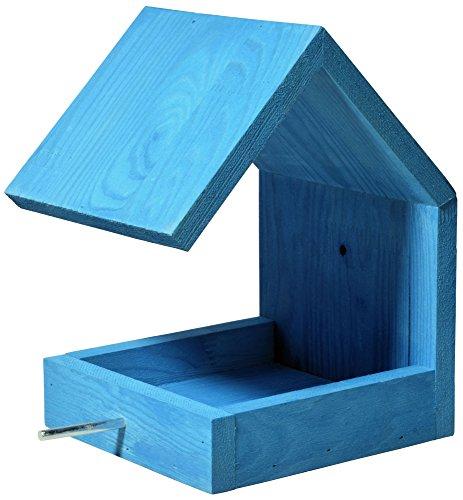 Luxus-Vogelhaus 38463e Vogelfutterhaus aus Holz zum Hängen mit Satteldach und Anflugstange (Vogelhaus), azurblau - 2