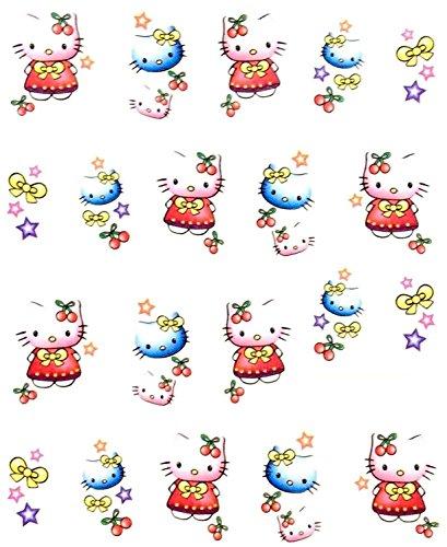 CartoonPrintDesign - 2 Stück Nagel Sticker Cartoon Water Transfer Sticker Nailart Wasser Nagelsticker Nagel Tattoo Nagelaufkleber Hello Kitty Cartoon Design - B1672