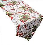 Fablcrew Tovaglia Natalizia Natale Decorazioni Ciondolo Natalizio per Donna Bambino Size 180 * 36CM (Frutto Rosso)