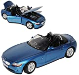 alles-meine.de GmbH BMW Z4 E85 Cabrio Blau Metallic 1. Generation 2002-2008 1/24 Motormax Modell Auto mit individiuellem Wunschkennzeichen