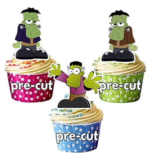 Vorgeschnittene Halloween Cartoon Frankensteine - Essbare Cupcake Topper / Kuchendekorationen (12 Stück) (Cartoons Halloween Lustig, Sauber,)