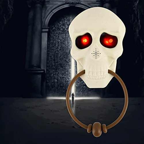 Enjoygoeu Halloween Deko Türklingel Skelett Dekoration Horror Leuchtend Totenkopf mit Leuchtende Augen und Sprechende Grusel Faszinierende Begrüßung