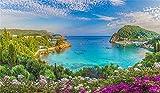 MMPTn 5x3ft Naples Sea Coast Splendido paesaggio d'Italia Sfondo Fiori rosaFotografia Sfondo Montagna Fiume Paesaggio urbano Architettura Paesaggio mediterraneo Vacanze italiane Viaggio