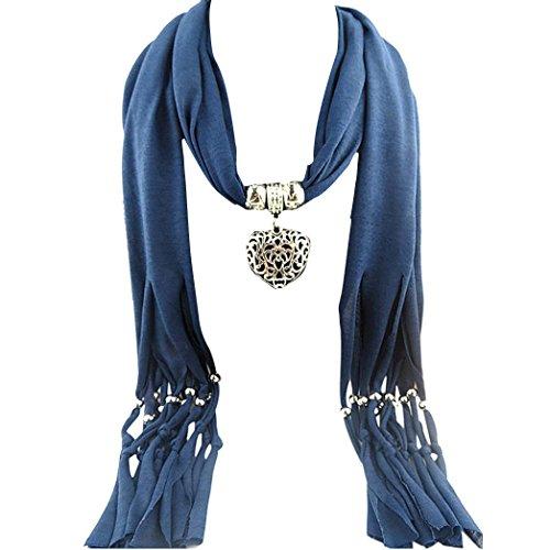 Tonsee® Collier de pierre gemme femmes Coeur Écharpe Lady Tassel Echarpes chaudes (Bleu)