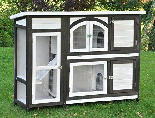 nanook Kaninchenstall, Hasenstall Jumbo XL mit seitlichen Aufgängen für mehr Platz - Wetterfest extragroß 138 x 48 x 109 cm braun/Weiss