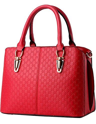 Menschwear Leather Tote Bag lucida PU nuove signore borsa a tracolla Blu Rosso