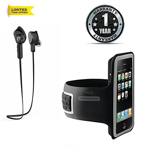 Samsung Galaxy S8 Compatible Certified Sports H850 Bluetooth 4.1 Wireless Headphones Earphone Headset with Built In Mic & 6 Hours Battery Backup – Black with Arm Band Sports Running Jogging Gym Armband Case Cover Holder(Assorted color)
