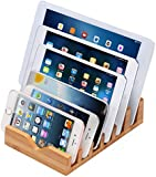 iCozzier® 6 Slots Bamboo Charging Station Stand Dock Multi Device Organizer for Small Laptops, iPhone 6 6S 6Plus, iPad Mini 3 4, Samsung Galaxy S5 S6,Chrome Books, Smartphones & Tablets