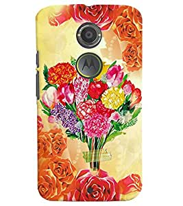 Fuson 3D Printed Flower Designer back case cover for Motorola Moto X2 - D4559