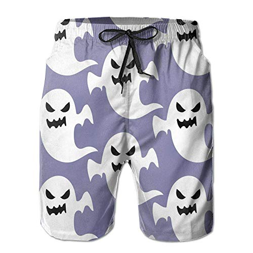 alloween Ghost Swimming Beach Board Shorts for Men Boys, Outdoor Short Pants Beach Accessories,Size:XL ()