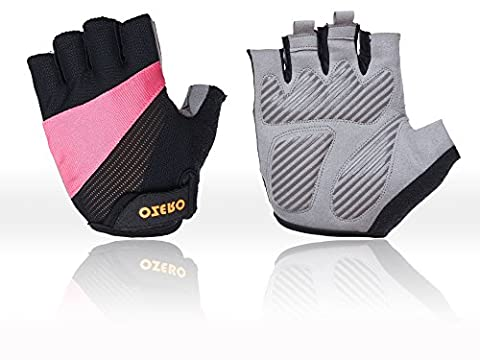 OZERO Cycling Gloves, Mountain Bike Gloves Fingerless Hand Protector for Women(Pink, Medium)