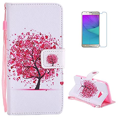 Samsung Galaxy J5(2017) Premium Flip Leather Case,[with Free Screen Protector] KaseHom Magnetic Closure Wallet Type Elegant Cherry Blossoms Tree Unique Pattern Design with [Card Slots][Anti-Scratch Bumper] Multi-function Protective Cover Holster for Samsung Galaxy J5(2017)