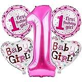 Edge Decor 1st Birthday Foil Balloon, 5 Piece, Pink