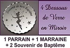 lot de 4 Dessous de Verre - Fée - Baptême & Communion