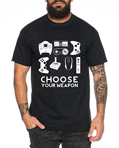 WhyKiki Choose Your Waepon Herren T-Shirt Gamer Play Sport Station Controller PS Game, Farbe:Schwarz;Größe:M (Street T-shirt Fighter)