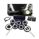 Set di Tamburi elettronici Verdi, Pad Pieghevole Handy Drum Pad con Headphone Jack, Bbuilt-in Speaker, Pedali, Drum Sticks, Regalo di Compleanno Ideale per i Bambini,White