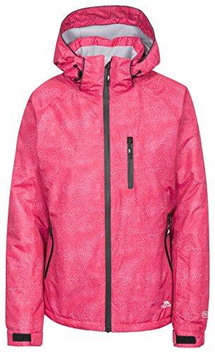 Trespass Iriso, Raspberry Print, XS, Wasserdichte Skijacke mit abnehmbarer Kapuze, Unterarmbelüftung & Skipasstasche für Damen, X-Small, Rosa / Pink
