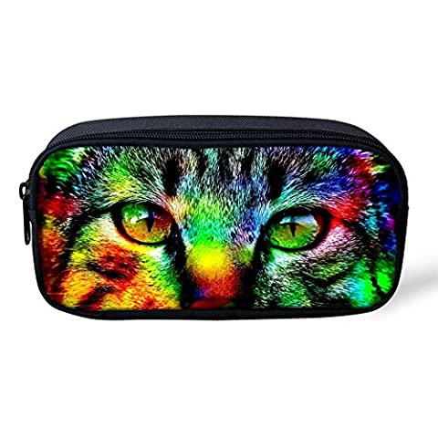 Unisex Mini Small 3D Cute Tiger Cat Animal Patterns Fashion Large Capacity Pencil Case/Cosmetic Makeup Bag/Coin Bag Women Girls (big eye cat)