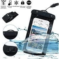 Custodia impermeabile per attività all'aperto - Borsa / custodia impermeabile per smartphone – Certificata IPX8 fino a 30 metri di profondità (nero)
