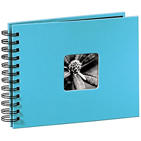 Hama Fine Art photo album, 50 black pages (25 sheets), spiral bound album 24 x 17 cm, with cut-out window in which a picture can be inserted, turquoise