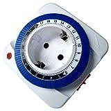 SODIAL Timer 24 Ore Presa Meccanica Programmatore Presa Timer Presa da Parete 230V Risparmio Energetico (Spina Europea)