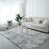 TROYSINC - Alfombra de Pelo Largo, Lavable, Moderna, mullida, para salón o Dormitorio, Gris Claro, 200 * 250cm
