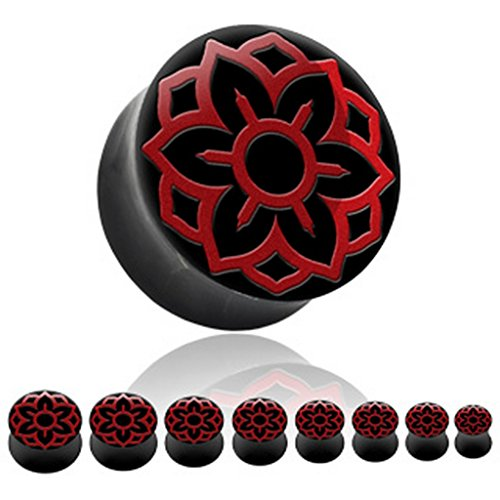 Piercing plug os organique red lotus Taille 12 mm