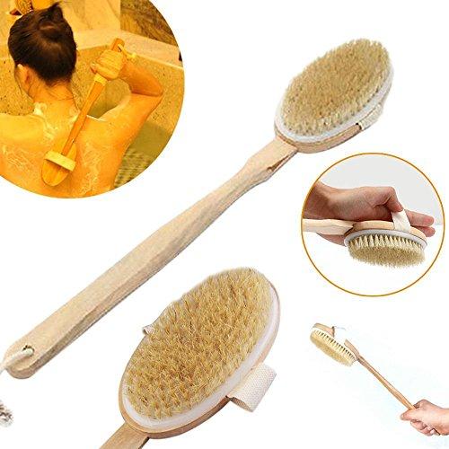 uctop Store Natural Boar 's eingezogen Long Holz Body Brush Massagegerät Bad Dusche Rücken Schrubber mit langen Holzgriff -