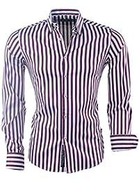 4dd21084ae6f Carisma - Chemise pour Homme - Stretch - À Rayures - Blanc - Rouge Bordeaux