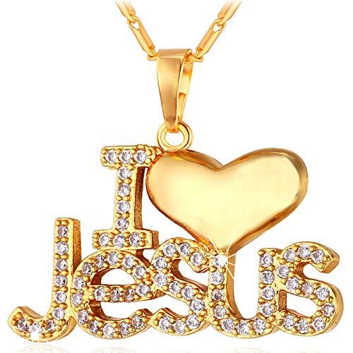 JMZDAW Halskette Anhänger Halskette Herz Jesu Anhänger & Kette I Love Jesus Geschenk Für Frauen/Männer Silber/Gold Farbe Christian Schmuck Halsketten (Für Christian Männer Fisch-ringe)