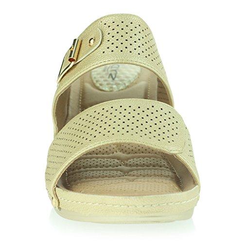 Femmes Dames Points de Pression Coussiné Respirant Doux Flexible Antidérapant Sole Massage Casual Enfiler Talon Compensé Sandales Chaussures Taille Or