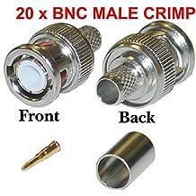 Malayas® 20 Unidades x Conectores BNC Macho Soldadura para Cable Cámera CCTV Coaxial RG59 - Rendimiento estable y profesional, estable