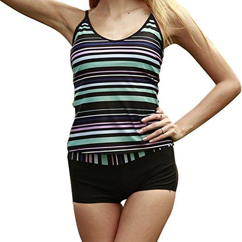 Xinvision Frauen plus Größe zwei Stück Tankini Sets mit Boyshort gestreiften Top Badeanzug Beachwear Schwimmen Swimwear (Tankini Schwimmen Mutterschaft)