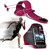 (Hot Pink + Ohr Telefon 154 x 74) BBLU Vivo 6 Fall Spannbettlaken Sports Armbinden Running Bike Radfahren Fitnessstudio Joggen befreit Arm Band Case Cover mit Case in Ear Buds Stereo-Hände Kopfhörer Headset Mikrofon und On-Off-Button Ausgestattet von i-tronixs