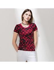 Heart&M de las mujeres de cuello redondo manga corta casual camuflaje estrella de cinco puntas de impresión camiseta tops . red . l
