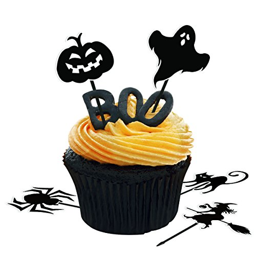 (amosfun 72 Stück Halloween Cupcake Topper Halloween Kuchen Topper Kürbis Cupcake Picks Spider Früchte Picks für Halloween Party Dekorationen Party Supplies)