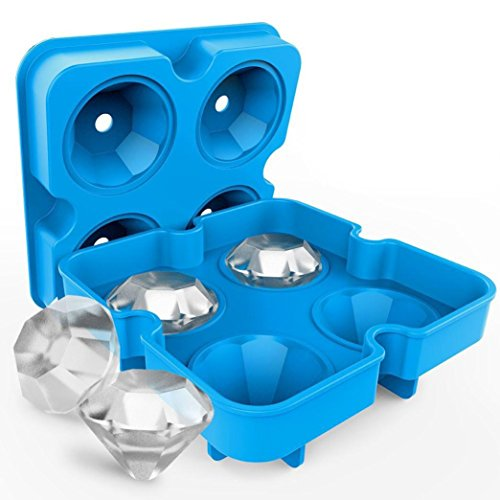 4 Hole Silicone Ice Tray,Hirolan Diamant Gestalten 3D Eiswürfel Formenbauer Bar Party Silikon Eiswürfelschale Schokoladenform Eis am Stiel Formen Wiederverwendbar (12.5X12.5X4cm, Blau)