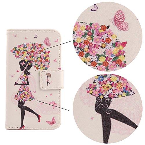 "Lankashi PU Flip Cuir Housse Etui Coque Cover Case Skin Pour Apple iPhone 6 Plus 5.5"" Wing Girl Design Umbrella Girl"