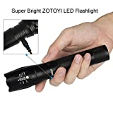 Zotoyi Waterproof Super Bright 1000 Lumens XML-T6 LED Tactical Flashlight Torch 5-Mode Adjustable Focus Zoomable Camping Torch, Powered by 18650 Batteries(included) with battery charger, green case