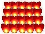 Alsino –Lote de 20linternas volantes celestiales tailandesa XXL c & # x153; ur rojo amor pareja San Valentín Regalo cumpleaños boda