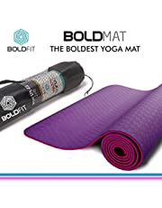 Boldfit Yoga mat for women and men with cover bag TPE material 6mm extra thick exercise mat for workout yoga fitness Pilates and meditation, Anti Tear Anti slip and Extra cushion eco friendly yoga mat
