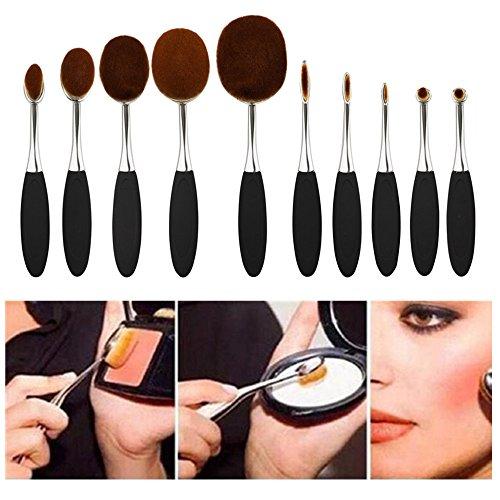 Fashion Base® 2016 Nouveau professionnel 10 pcs/set Brosse à dents Forme ovale Lot de brosse de maquillage professionnel Crème Fond de teint poudre Brosse Kits (Silver ')