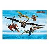 Vliestapete Dragons - Flug übers Meer, HxB: 225cm x 336cm